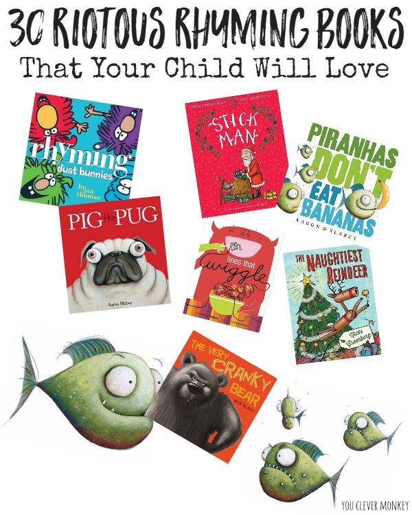 30 Riotous Rhyming Books That Your Child Will Love - more than 30 picture books titles recommended by an Early Years teacher that are  full of rhyming words your children will love to read and listen to. Perfect for reading together at home or reading aloud in the classroom | you clever monkey