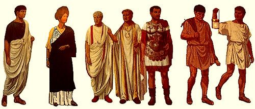 Ancient Rome clothing.  Their clothing was different back then, then our clothing no. They were called toga's.