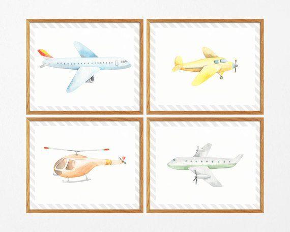 Planes Prints Plane Print Nursery Nursery Plane Airplane Printables Set Of 4 Aviation Watercolor Planes Wall Ar Printable Wall Art Nursery Prints Prints
