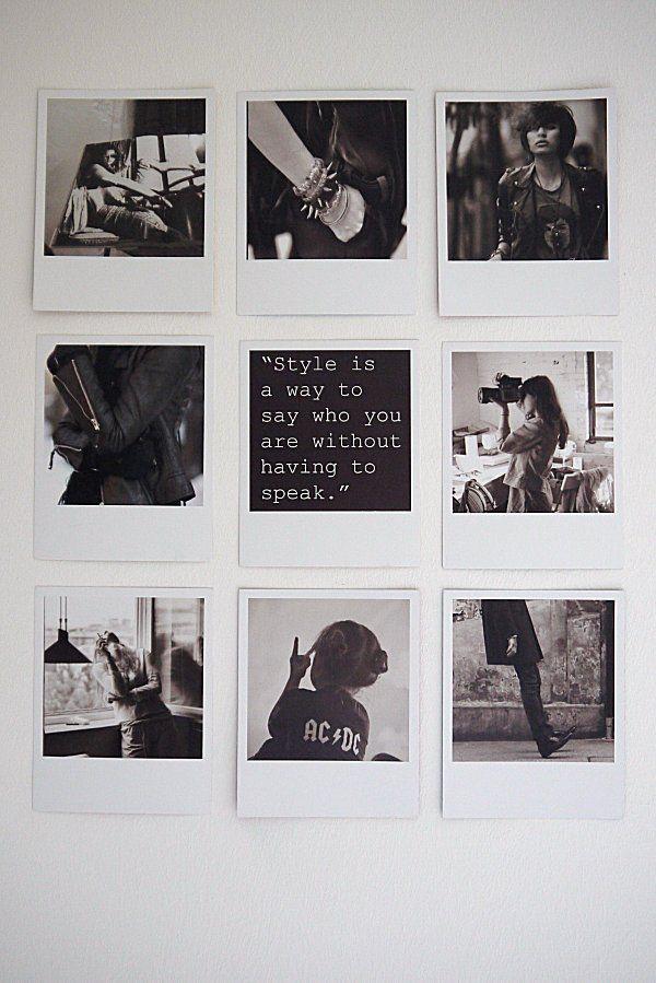 A collage on the kitchen wall | Origrami polaroids