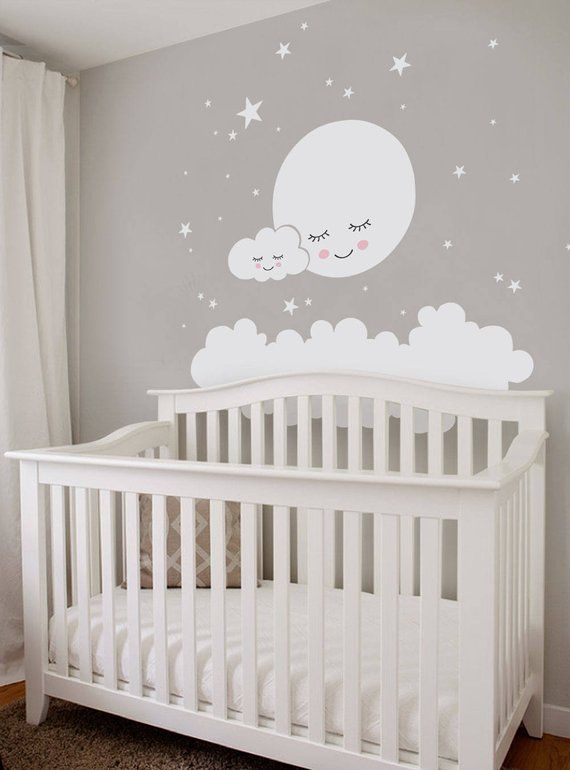 Moon Clouds And Stars Wall Decal Vinyl Wall Sticker Nursery