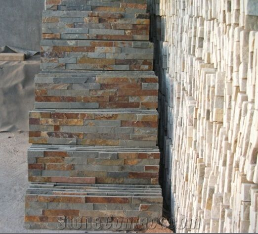 Rusty natural stone exterior wall cladding panel rusty slate stone walling tiles exterior for Exterior stone cladding panels