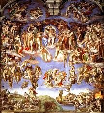 The Last Judgment, Michelangelo, Sistine Chapel, Fresco, 1536  1541, variety in figures, shows up in Vermeer's Woman Holding a Balance, right side is going to hell, Saint Bartholomew is face of Michelangelo, nudity wasn't allowed in the chapel,