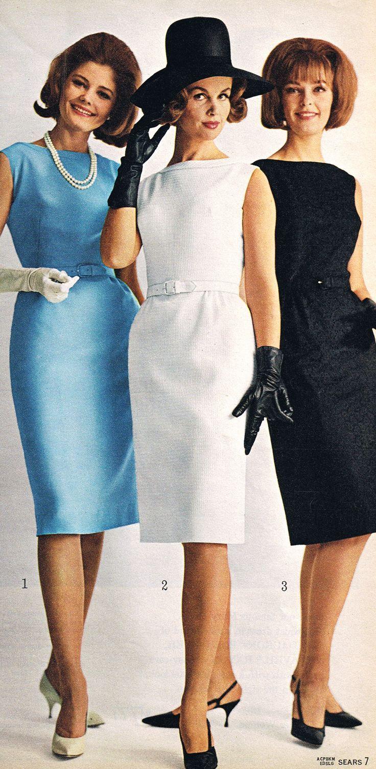 1964 blue white black shift dress belt