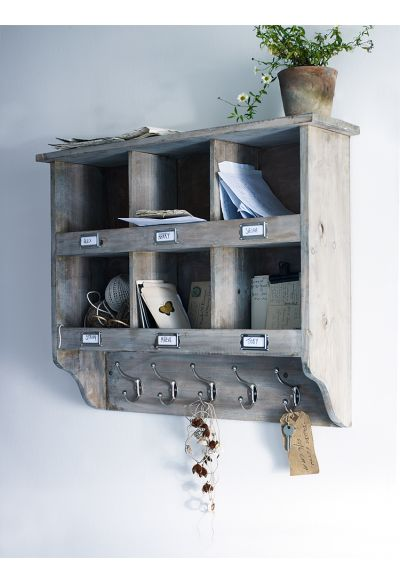 Wooden Box Unit With Hooks - Furniture