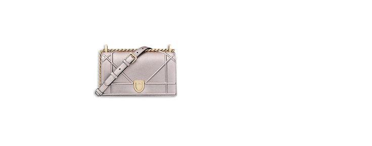 "Small ""diorama"" bag in copper-tone metallic grained calfskin - Dior"