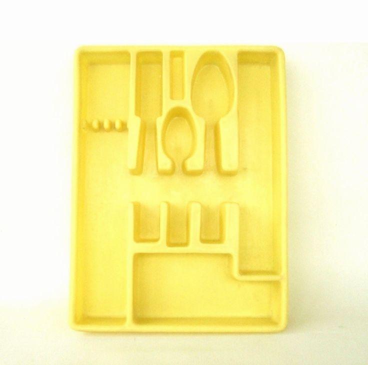 New to LaurasLastDitch on Etsy: Lemon Yellow Kitchen Flatware Organizers Silverware Trays (12.99 USD)