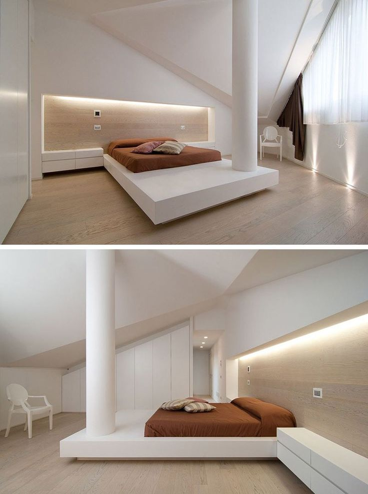 BEDROOM DESIGN IDEA - Place Your Bed On A Raised Platform // The elongated…