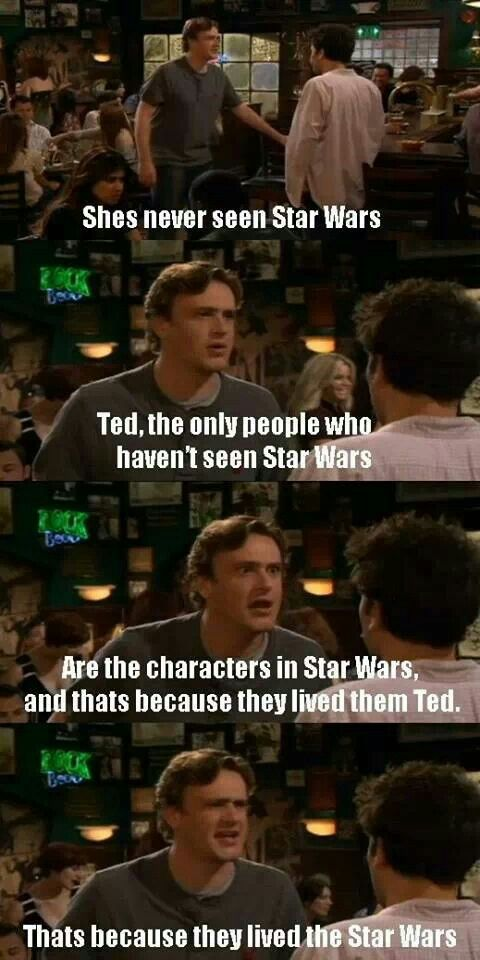 I LOVE that Ted Mosby is such a Star Wars nerd. And I LOVE that Marshall finds Stella's lack of knowledge about it a problem.