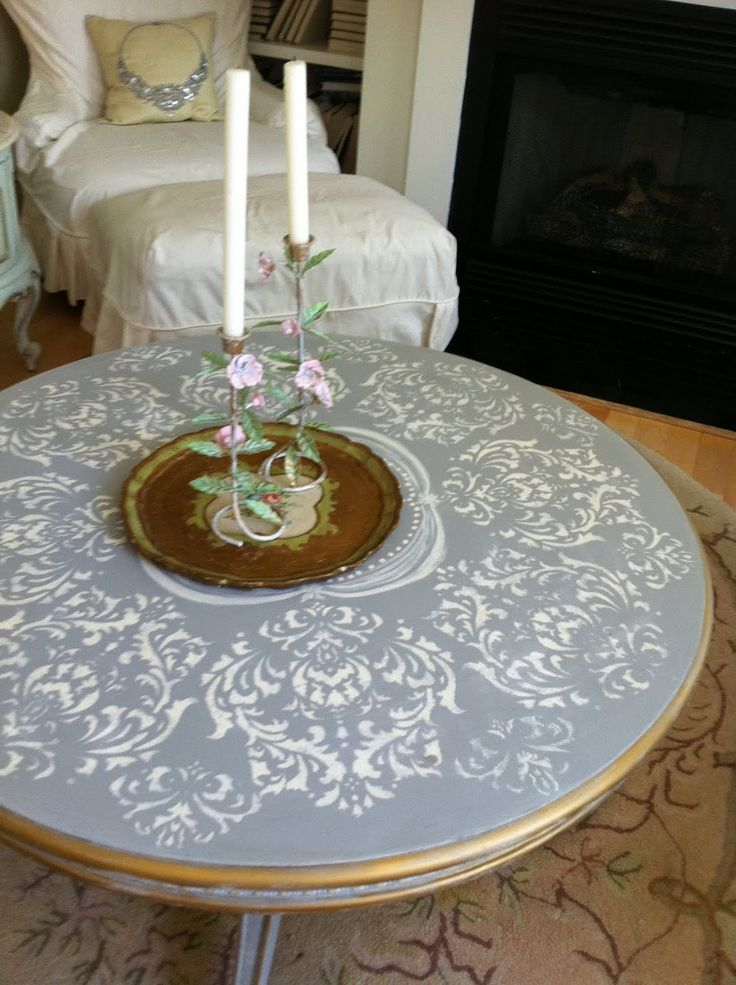 Paris Grey with stencil ... for the coffee table in the studio begging to be refinished.  Yes!!