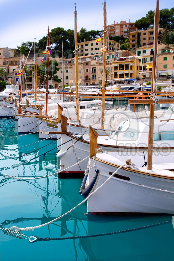 Puerto de Soller Port of Mallorca with lllaut boats in the Spanish Balearic Islands