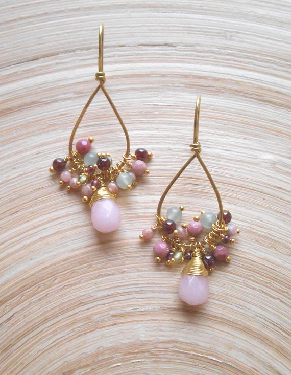 With a romantic, girly, boho-chic style, Tulip gemstone cluster hoop earrings will quickly become your go-to pair! This is a fun, festive and effortless pair of earrings you can dress up or wear casually. I hand formed and lightly hammered a teardrop shape hoop out of gold filled