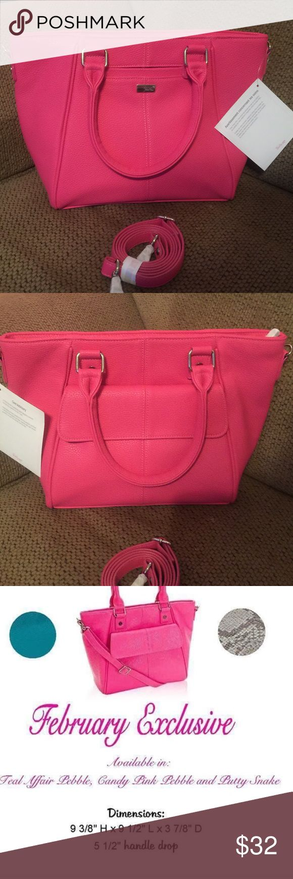 Thirty One Mini Diamond District in candy pink Brand new with tags. No marks or wear. Gorgeous bubble gum pink color. Thirty One Bags Satchels