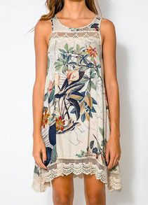 robe décontracté floral sans manche -blanc