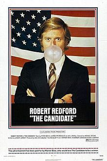 The Candidate is a 1972 American film starring Robert Redford. Its themes include how the political machine corrupts and the need to dilute one's message to win an election. There are many parallels between the 1970 California Senate election between John V. Tunney and George Murphy, but Redford's character, Bill McKay, is a political novice and Tunney was a seasoned Congressman.  The film was shot in Northern California in 1971.