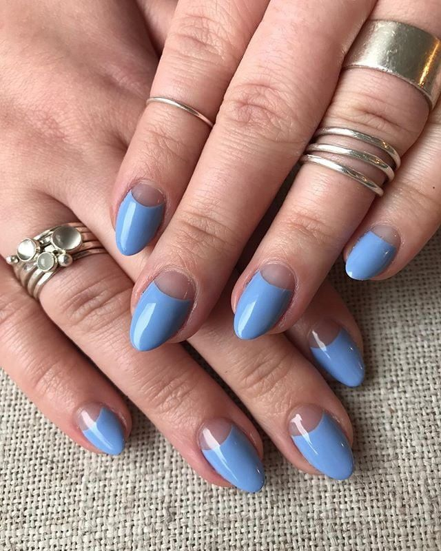 Blue Moon Nail Art Is Like A Modern French Manicure And It Ll Be Everywhere This Spring In 2020 Moon Nails Moon Manicure Manicure