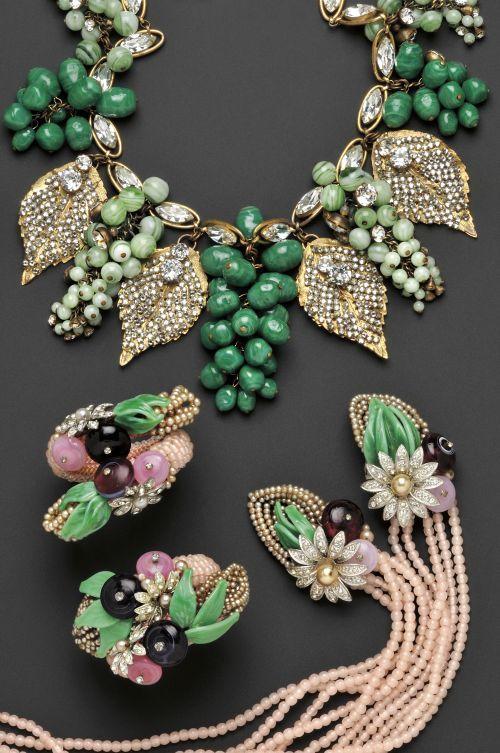 Miriam Haskell Pair of Vintage Wrap Bracelets, an Impressive Vintage Grape Cluster Festoon Necklace, and Vintage Pate de Verre and Glass Bead Sautoir
