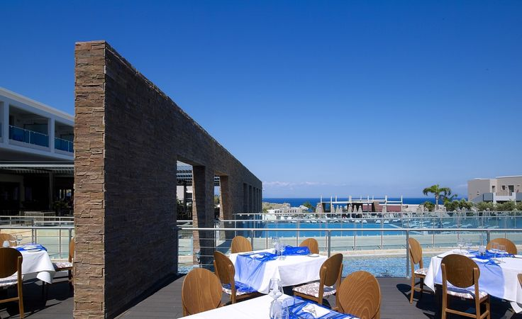 Terrace from our main restaurant. Nothing becomes boring when you can choose between Greek, Mediterranean and international cuisine.