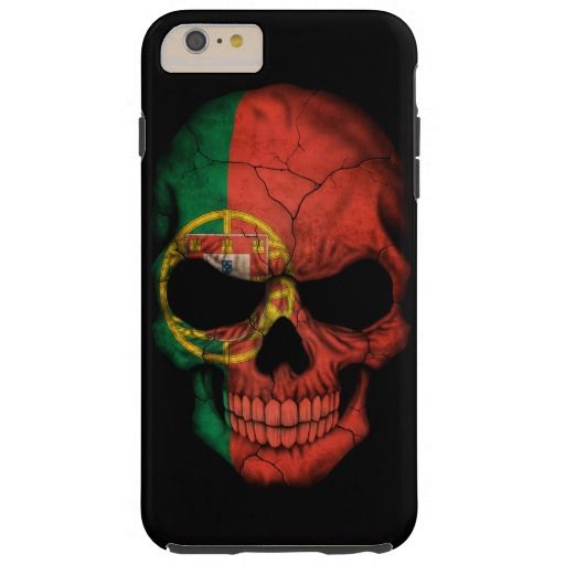 Portuguese Flag Skull on Black Vibe iPhone 4 Case Iphone