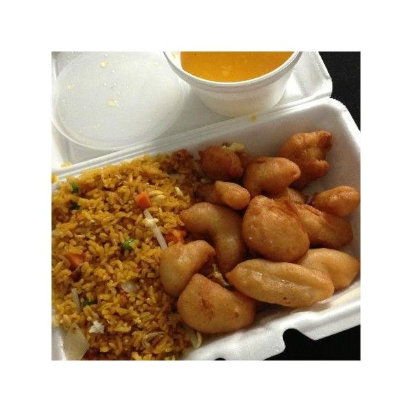 Honey Garlic Chicken with Pork Fried Rice Picture of Bobo Chinese Take Out, Sunrise featuring polyvore