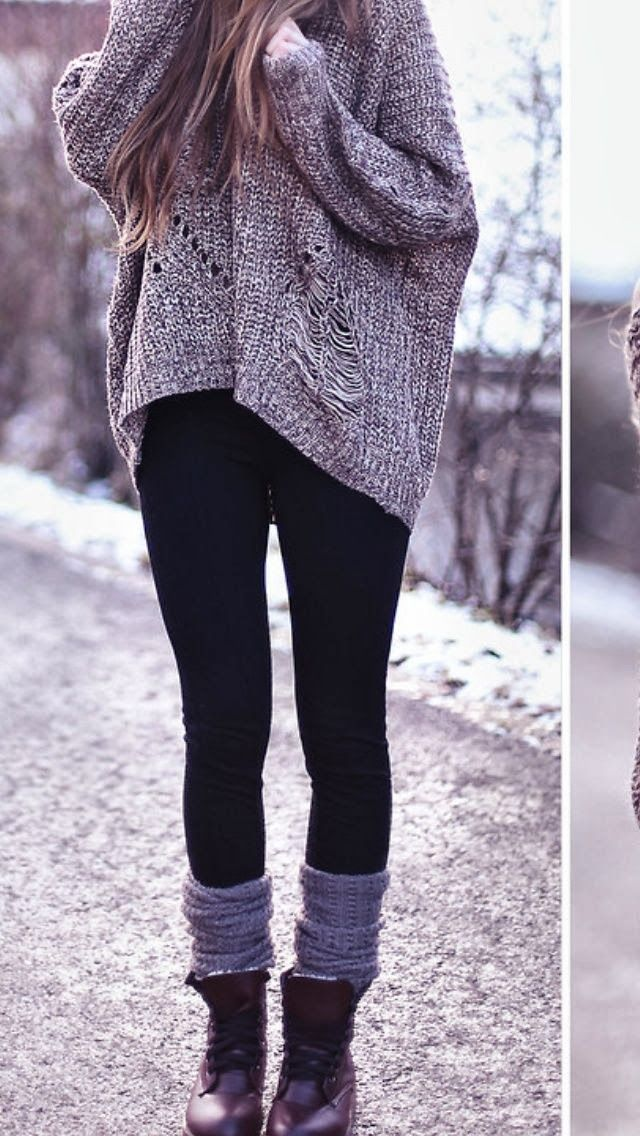 Cute Outfit for Autumn Oversized woolen Sweater ,Amazing Black  Tights with Leather Combat Boots