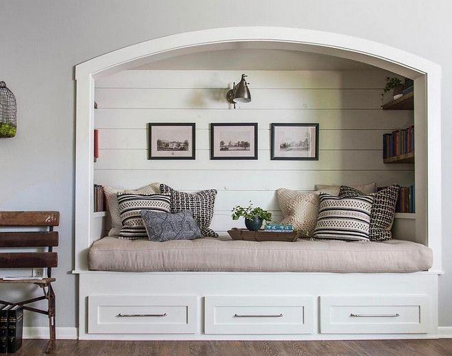 Fixer Upper Farmhouse Reading Nook With Shiplap Paneling And Reclaimed Wood Bookshelves