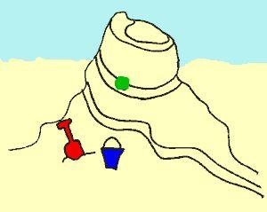 knikkerbaan in het zand