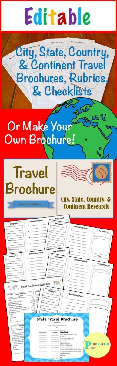 There are Editable Trifold Brochures, Rubrics, & Checklists available to customize. There is a checklist (self eval & peer edit), template, and rubric for the city (capitals), state, country, continent, and template brochures. #Travel Brochure #SocialStud