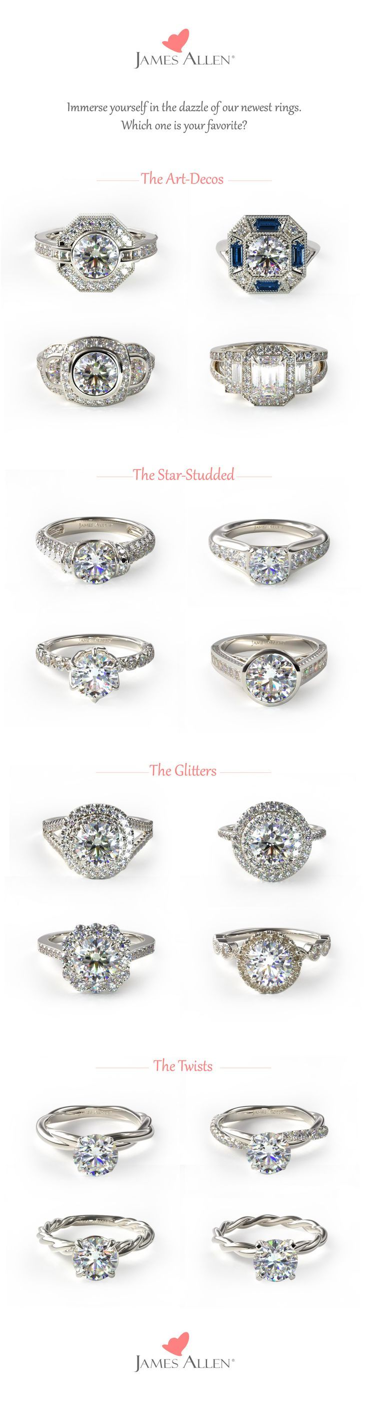 This just in: New ring settings available at James Allen. From twists to star-studded sparklers--Which one is your favorite?? #Jamesallenrings See more rings at: www.jamesallen.com