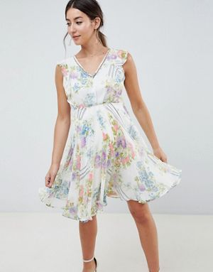 6f81804015a ASOS DESIGN Maternity ruffle neck mini dress in floral print