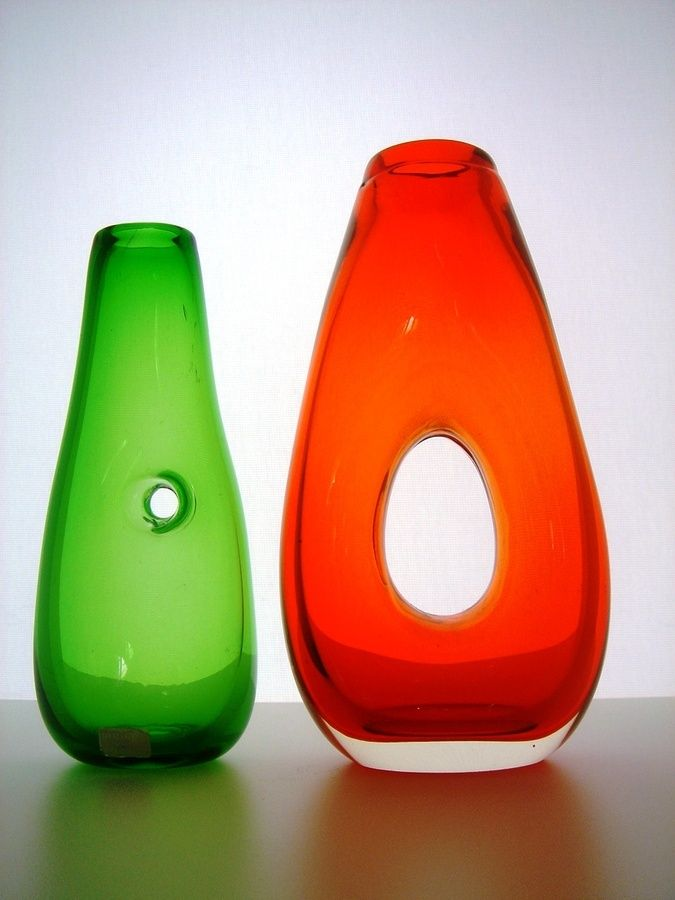 Pair of mid-century vases with holes. Green vase by Gunnar Ander for Lindshammar, Sweden, c. 1950s.