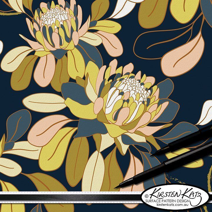 The leading hero design from my 'Ginger Utopia' Collection with the dark navy background.  This collection was designed for wallpaper upholstery and home decor and is one of my personal favourite collections that I designed in 2016