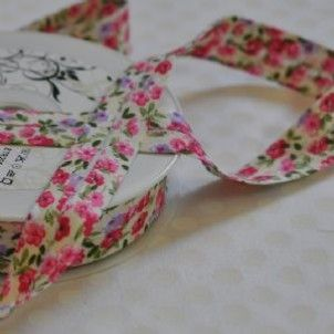 20mm Bias Binding Pink Green Lilac And Cream Floral