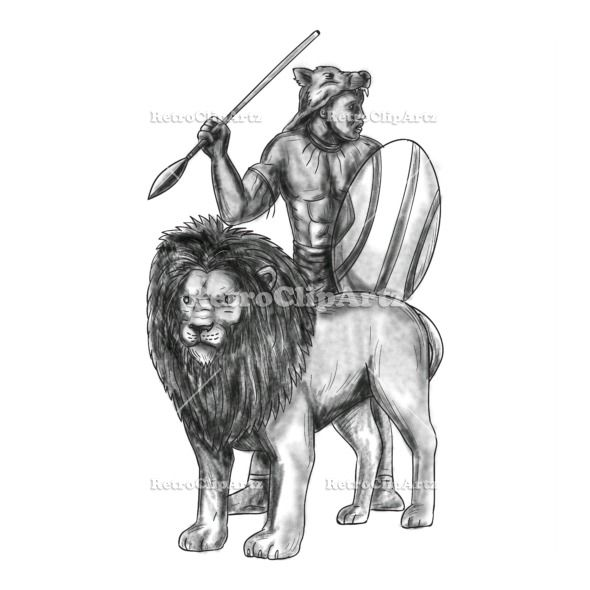 African Warrior Spear Lion Tattoo Vector Stock Illustration.  Tattoo style illustration of an african warrior holding spear and shield looking to the side with lion in front of him facing front set on isolated white background. #illustration   #AfricanWarriorSpearLion