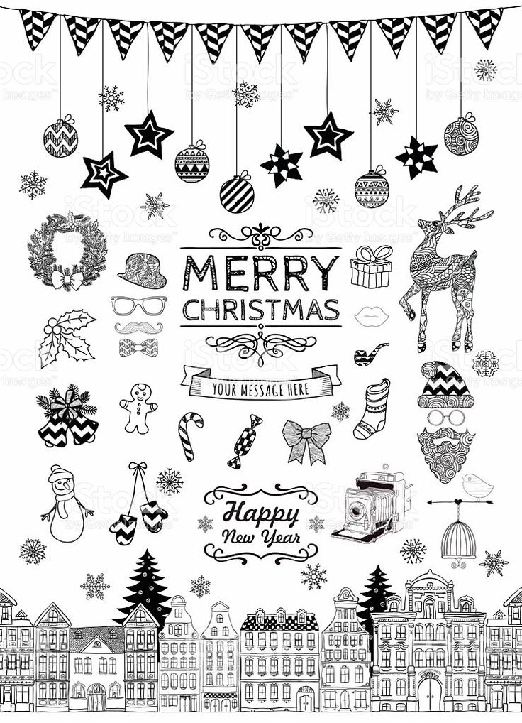 Hand-drawn Christmas Doodle Icons and Elements royalty-free stock vector art