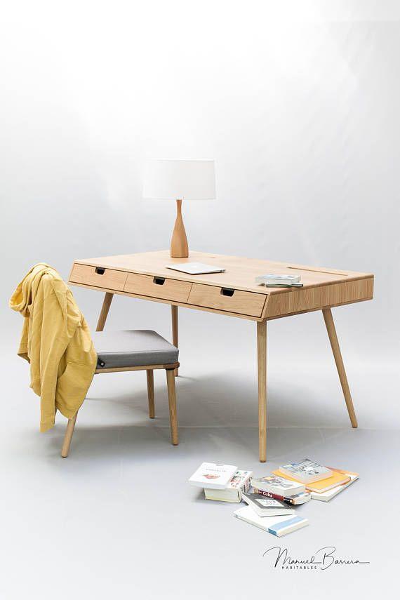 Desk In Oak Wood Mid Century Modern Tantik Eiche Holz