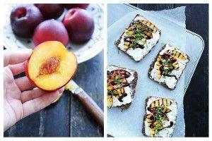 Sunde snacks med grillet frugt og friskost  www.samanthafotheringham.dk