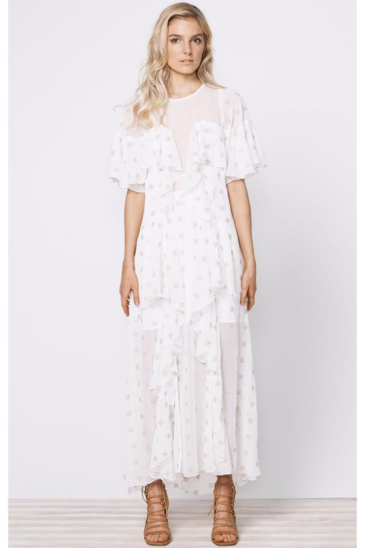 Stevie May Cosmic Currents Gold Embroidery Maxi Dress