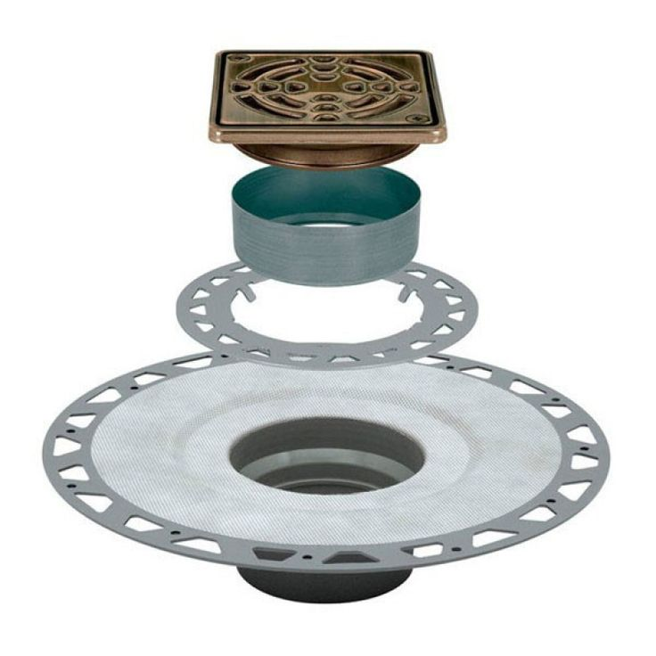 "KERDI-DRAIN Kit 4"" Square Oil Rubbed Bronze Steel Grate - PVC Flange with 2"" Drain Outlet - Qty: 10"