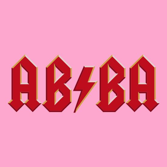 """Abba. Part of the mash-up collection, this design combines the iconic ABBA with the gods of rock AC/DC and answers the question: """"Voulez-vous Made Who""""."""