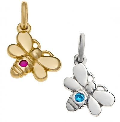 Pendant or Charm - BIRTHSTONE BEE - Sterling Silver or 9ct Gold