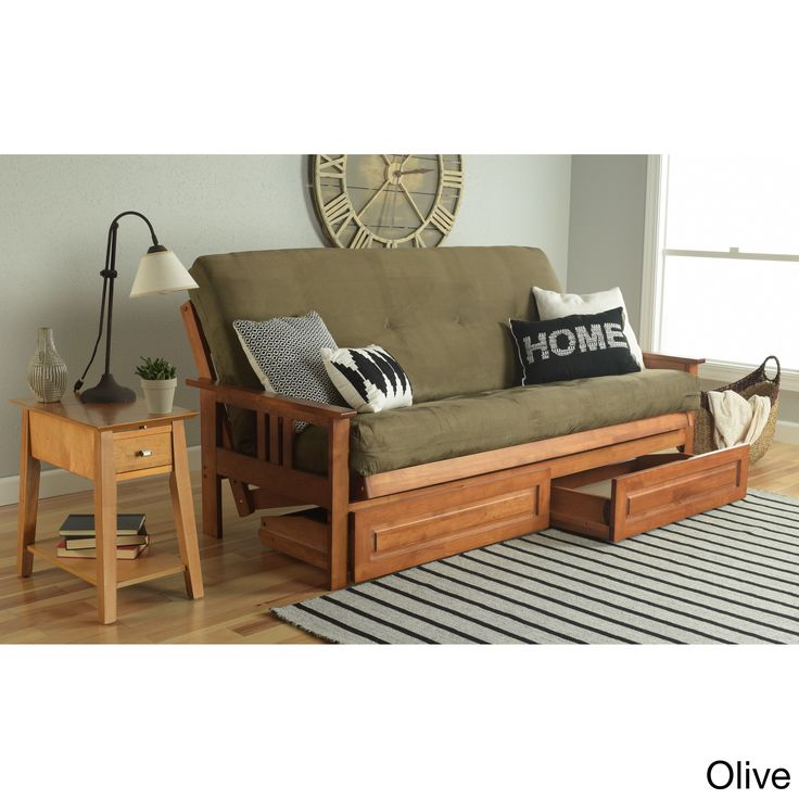 Somette Beli Mont Honey Oak Full Size Futon Set With Suede Mattress And Storage Drawers Green