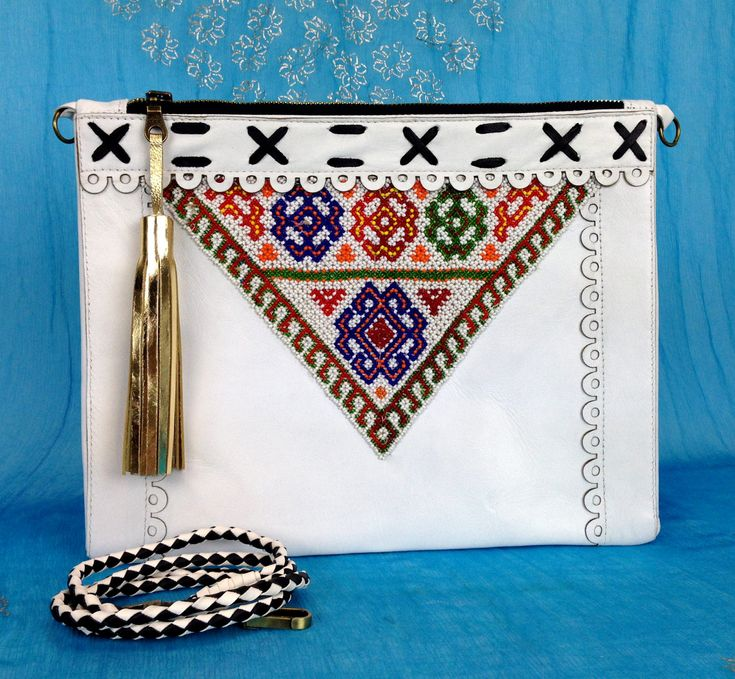 Tarini womens Real Leather Mexican clutch, classy white leather crossbody women, White golden tasseled envelope clutch bohemian bolsos by TariniBags on Etsy