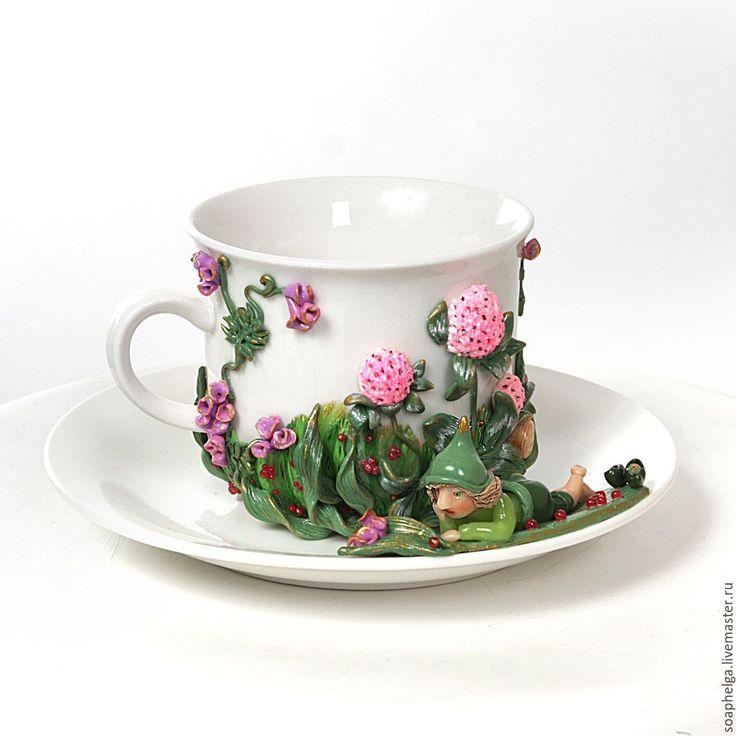 """Купить Чашка с блюдцем, декорированные полимерной глиной """"На лугу"""" - заказать чашку"""