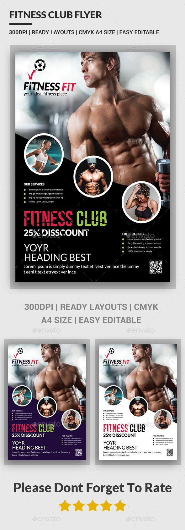 Fitness Flyer - Gym Flyer Template #design Download: http://graphicriver.net/item/fitness-flyer-gym-flyer-templates-/12644383?ref=ksioks