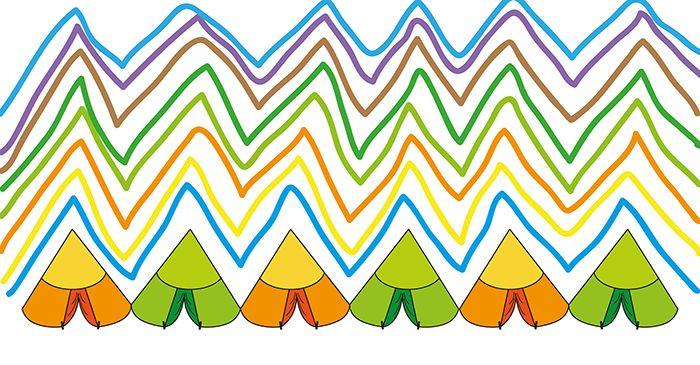 PDF Fiche de Graphisme MS Lignes brisées – Tracer plusieurs lignes de contour au dessus des tipis indiens en variant les couleurs. Maternelle Moyenne Section.