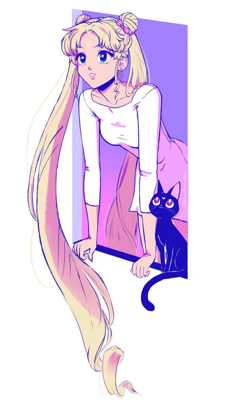 Sailor Moon | Luna & Usagi Tsukino (Serena) | Anime | Fanart | Etsy | SailorMeowMeow