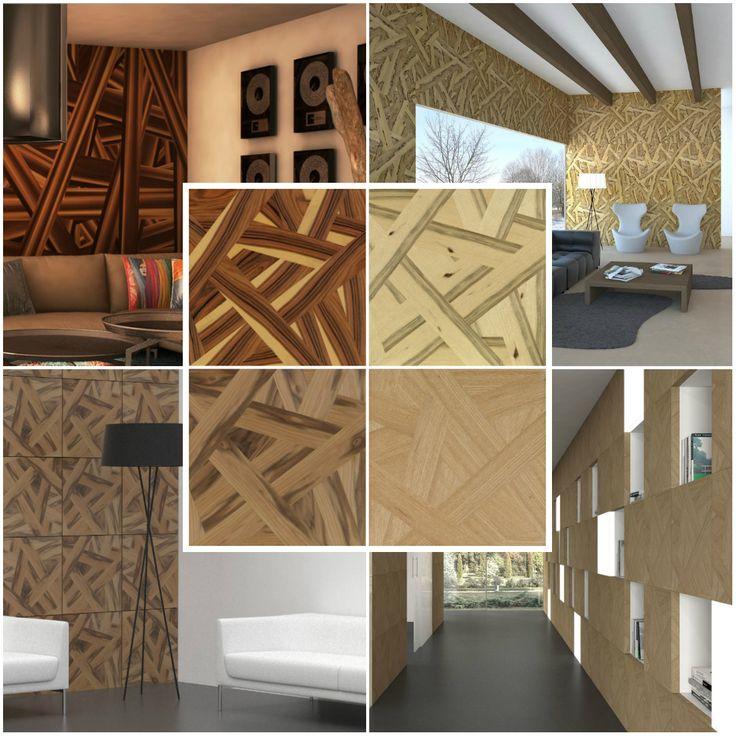 paneles de madera diferentes en nogal roble pauferro y limba con fusin
