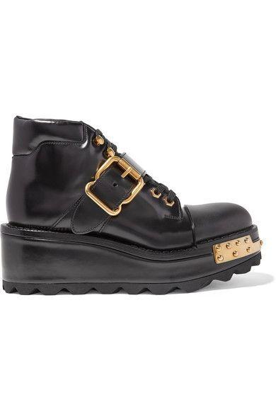 Prada - Embellished Leather Wedge Ankle Boots - Black