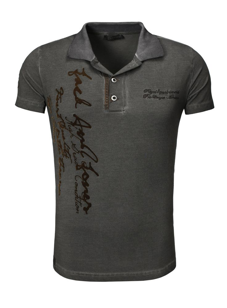 Tazzio Polo shirt HerrenVintage Embroidery short-sleeved Anthracite